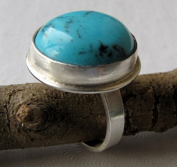 ON SALE Turquoise Sterling Silver Ring was 38 dollars