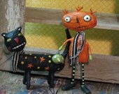 Primitive Folk Art Pumpkin Creep Paper Mache