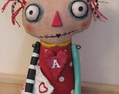 Soft Sculpture Primitive Folk Art Doll ....Raggedy Annie Creepy