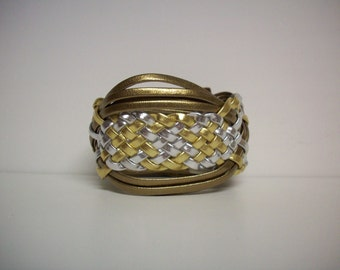 Base Metals - Woven Upcycled Vinyl Cuff