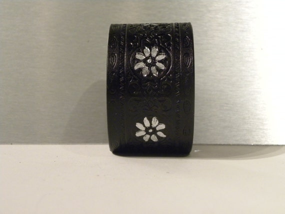 Blackfoot Daisy - Silver Embossed Black Leather Cuff - UPCYCLED
