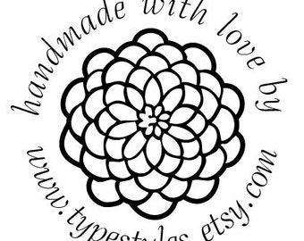 Handmade for you by ... Custom  Shop Name Rubber Stamp