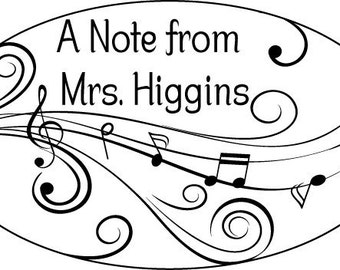 Teacher Gift - Music Teacher - A Note from Personalized Rubber Stamp