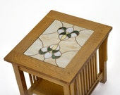 Spindle Side Table w/ Stained Glass Top