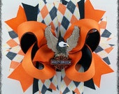 Harley Davidson inspired Boutique Stacked HairBow
