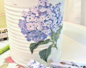 tinkered can and clothespin set - hydrangea
