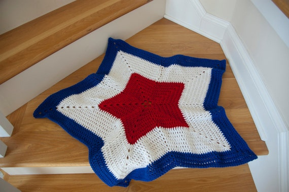 Patriotic Red, White and Blue Star-Shaped Afghan