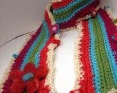 Felty Flowers Scarf  Colorful wool and handspun yarn