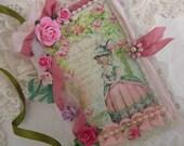 Sweet Little Marie Antoinette Mini Journal Vintage Rose TREASURY ITEM Tattered Rose Blank Journal Matching Bookmark Shabby Rose Pink Rose Handmade Journal Romantic Decor Pink Roses Floral