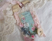 Primitive Romantic Shabby Chic Dress Form Womens Gift Hang Tag Cottage Garden Sweet Vintage Rose Rhinestone Wedding Gift Tag Folk Art Hang tag Vintage Rhinestone Jewelry Antique Pink and Aqua  Collage Tag Altered Art Gift Tag Womens Gift Fashion Tag
