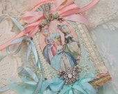 Elegant Marie Antoinette Mixed Media Collage Book With Pink and Aqua Ribbons