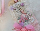 Marie Antoinette Gift Tag With Rhinestones