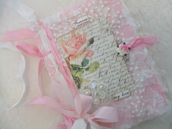 Shabby Rose French Journal with Vintage Hand Stamped Tags