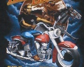 Vintage Harley Davidson Motorcycle tshirt with a biker and a cowboy size XL