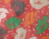 Vintage 80s Silk Crepe Red Floral Scarf by Albert Nipon