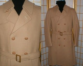Vintage 80s Double Breasted wool Overcoat Mens Size medium