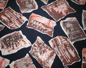 2 1/2 yards 44 wide Vintage 80s photo print silk crepe dressmaking fabric from JH Collectibles