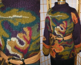 VTG 80s Mohair Earth Tone Patterned Sweater Women's Size M
