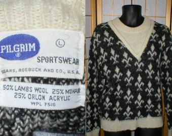Vintage 50s 60s Fleur de Lis Black and White Mohair Sweater Mens Size small