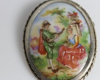 Vintage Signed Limoges of France Porcelin and Sterling Silver Pastoral Romantic Victorian Brooch