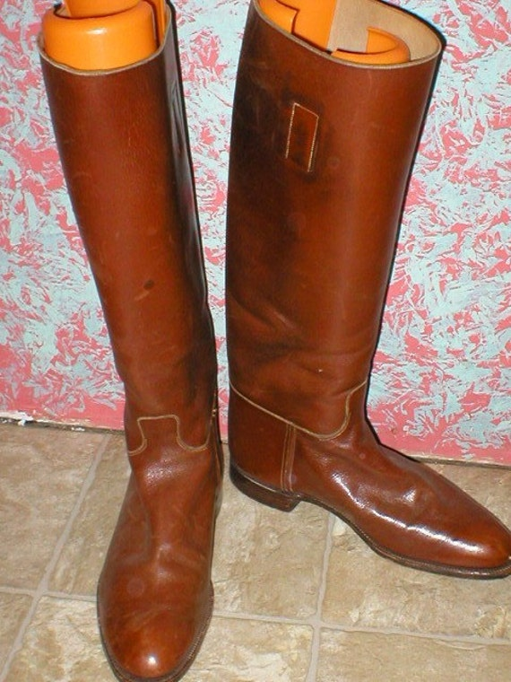 Brown leather Riding Boots Made in England men's size 8 by antique