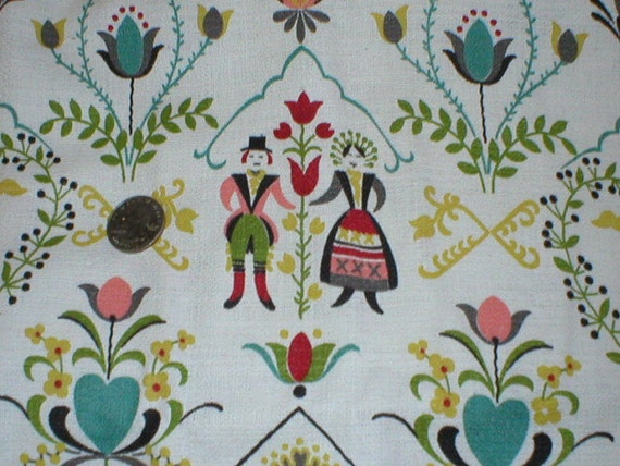 reserve for martina 1 5/8 yards 35 wide Vintage 50s folk art print cotton Bark Cloth fabric