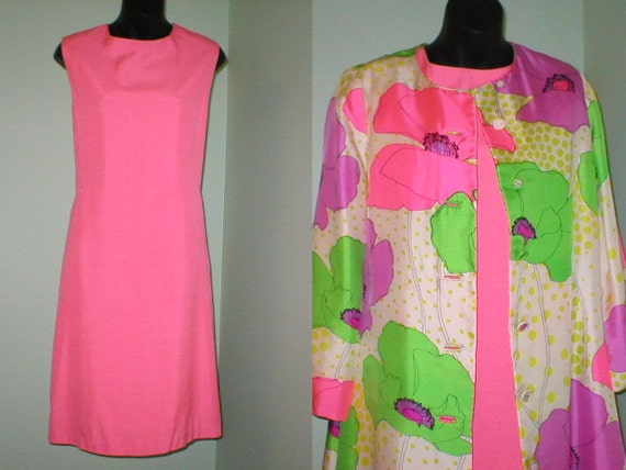 2 Pc Vintage 60s 70s Mod fitted Wiggle Dress with Silk Floral Jacket by BH WRAGGE size medium