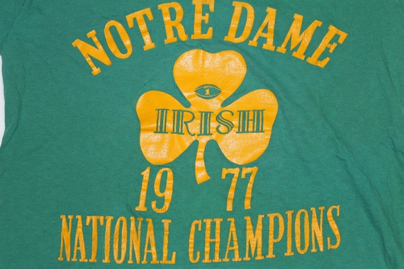 Vintage 70s Notre Dame 1977 National Champions Football T Shirt size medium