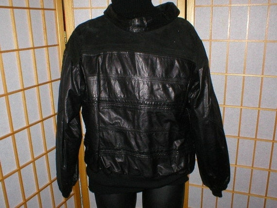 Reserved Vintage New Wave punk 80s Black leather and suede jacket sweatshirt mens Size small 38
