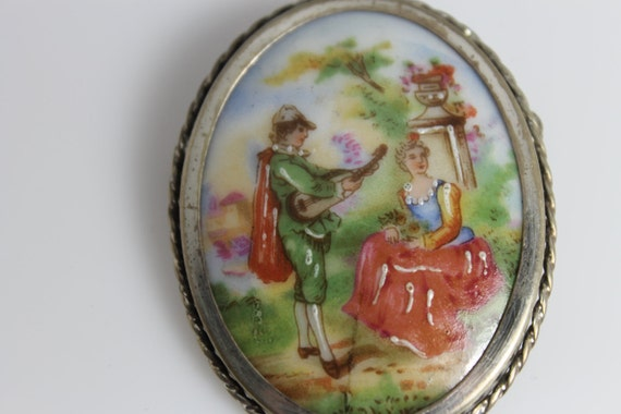 Vintage Signed Limoges of France Porcelin and Sterling Silver Pastoral Romantic Victorian Brooch