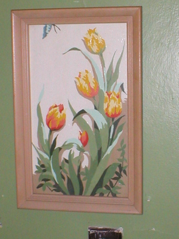 Paint by number tulip flowers painting with wood frame and glass