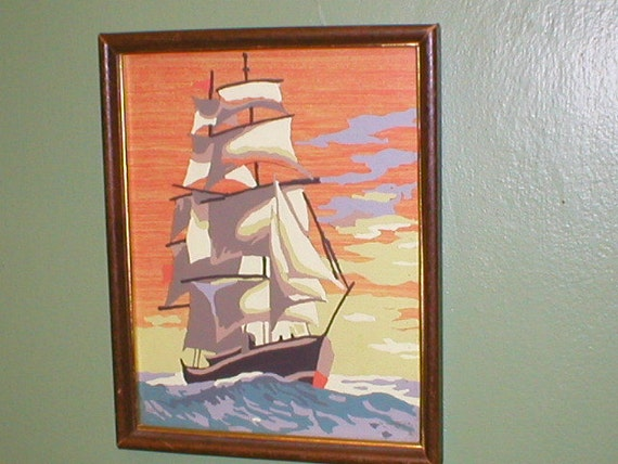 Framed Schooner sailing ship Paint by Number Painting