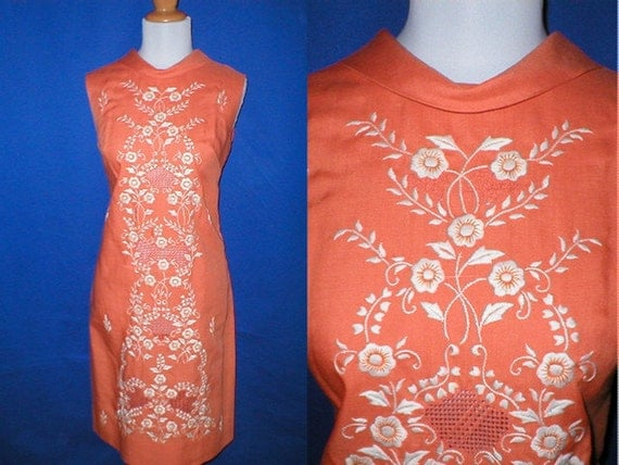 Vintage 60s Embroidered Orange and White Cotton Linen Sheath Dress Womens Size  large