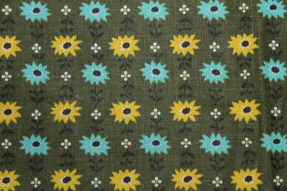 2 1/2 yards 36 wide Vintage 50s floral cotton quilt dressmaking fabric