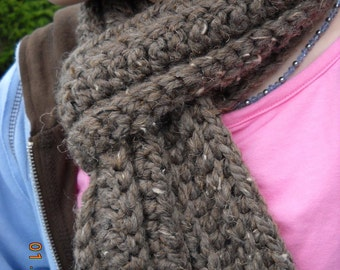 Chunky Chocolate Scarf brown neck warmer neck wrap chocolate cotton unisex color warm winter scarf HandMade in USA