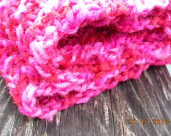 Hot Pink Crochet Scarf Chunky Pink Crochet Scarf Hot Pink 4ft x 5in Multicolor all cotton neck wrap Valentine Gift pink scarf Made USA
