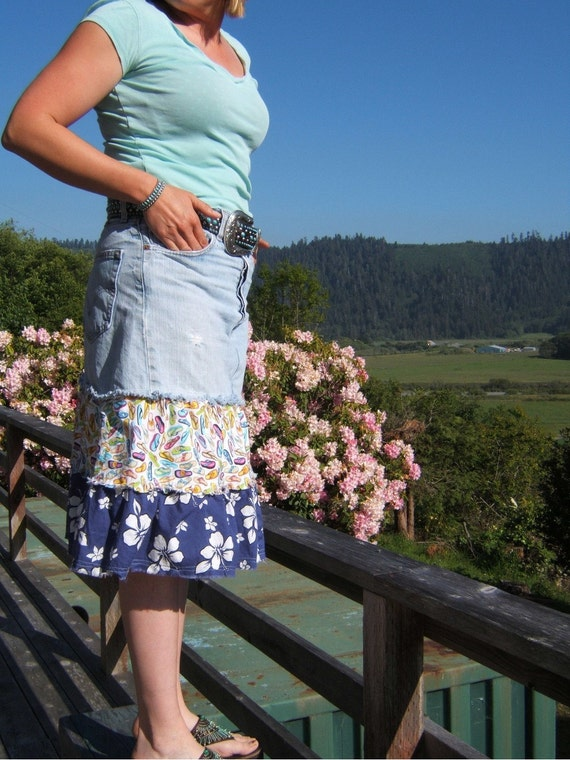 Levi Skirt Fun Flirty Denim Blue Levi Skirt Flip Flops Summer Sunshine Hibiscus Flower OOAK size12 upcycled jeansMade in USA