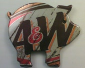 Funky Junq Recycled Aluminum Soda Pop Can Art Magnet A and W ROOTBEER PIG