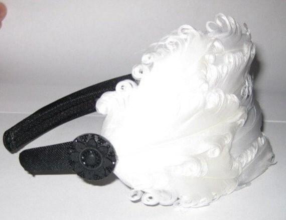 Clara- white nagorie feather headband