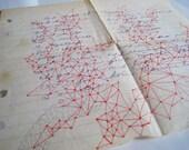 Original Ephemera Abstract Geometric Red Art on Vintage Paper