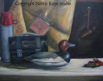 STILL LIFE PAINTING Sale Remembering the Hunt/ 24 x 30 oil on canvas