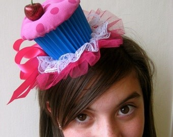Cupcake Party Hat (Pink and Blue)