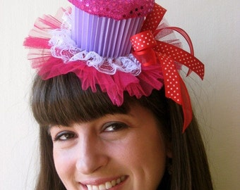Cupcake Party Hat (Hot pink sequin and lavender)