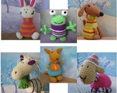 All 6 of my crochet toy or finger puppet patterns pdf file. Includes Pony, sheep, Puppy dog, rabbit, kangaroo and alien monster