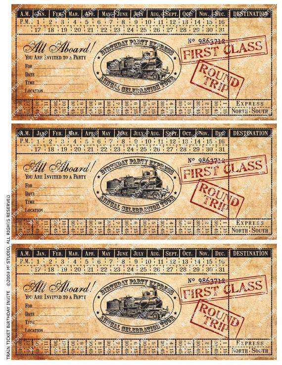 Printable vintage train ticket birthday invitation for Train ticket template word