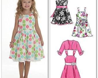 CHILD DRESS PATTERN With Sash and Shrug for Girls In Sizes 3 To 5 Or Sizes 6 To 8