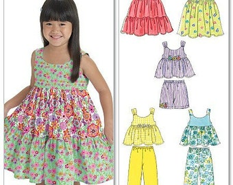GIRLS CLOTHES PATTERN / Dress - Top - Shorts - Pants in Sizes 4 To 6