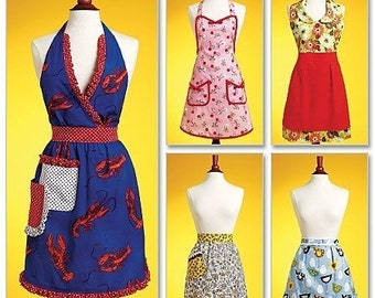APRON SEWING PATTERN / Vintage Style Full and Half Aprons