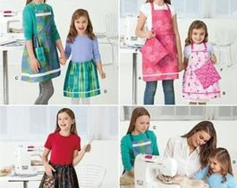 SALE! APRON PATTERN / Learn To Sew / Make Full or Half Aprons and Potholders