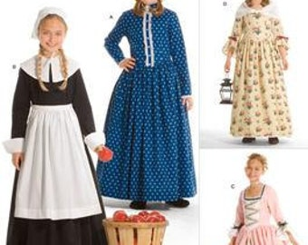 HISTORICAL COSTUME PATTERN / Dresses / Kirsten - Frontier / Felicity - Two Outfits / Pilgrim / Size Child 3 to Girl 14